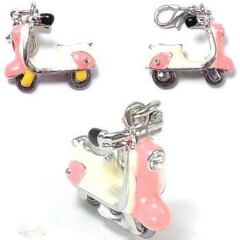 Roller  Charm rosa mit Strass &  Emaille