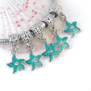 Dangle Bead Green Star mit Strass