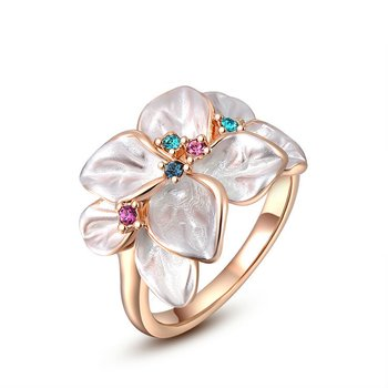 Ring White Flower Zirkonias multicolor mit vergoldet im Etui