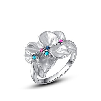 Ring Flower Zirkonias multicolor vergoldet im Etui