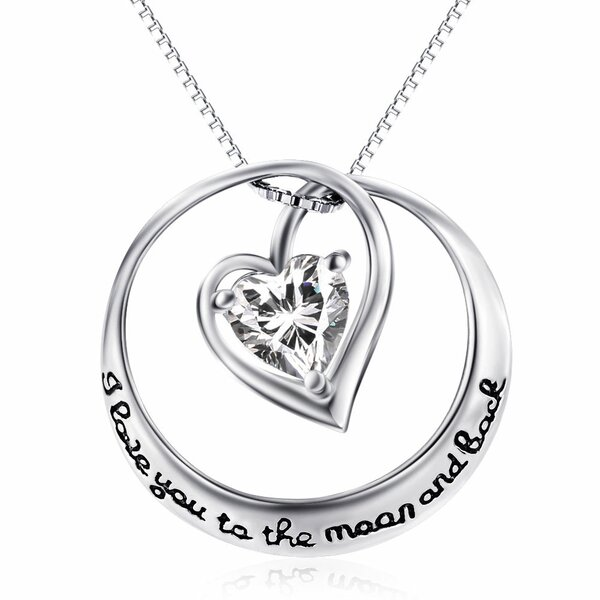 Anhänger Zirkonia Herz Amulett I Love You to the moon and back ink ... 16b6fbe4f0