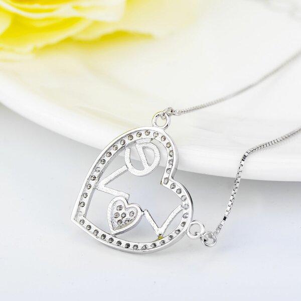 Herz Micro Pave Zirkonia Anh/änger mit Halskette 925 Echt Silber f/ür Frauen M/ädchen Kette Z140