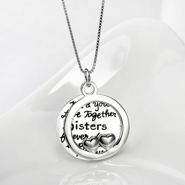 Anhänger 2tlg. Amulett  Me & You Love Together Sisters forever love happiness always aus 925 Silber inkl. Gliederkette im Etui GRAVUR OPTION