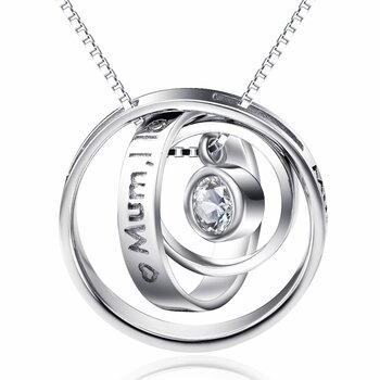 Anhänger Galaxie Ringe  Mum I love you  inkl. Kette aus...
