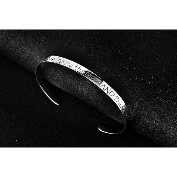 Armreif I Love You to the Moon AND Back aus  925 Silber im Etui GRAVUR OPTION