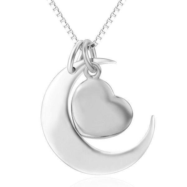 3 Tlg Set 2 Anhanger Mond Herz Aus 925 Silber Inkl Glieder