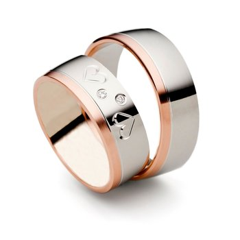 SET Eheringe / Trauringe Hearts 6 mm in Rosegold/...
