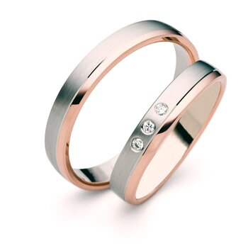 SET Eheringe / Trauringe Love Story 3,5 mm in Rosegold/...
