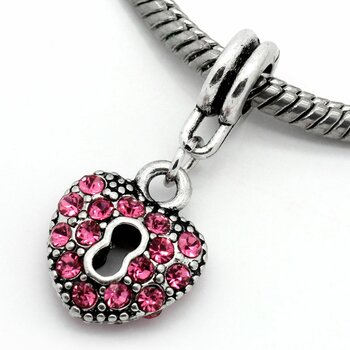Dangle Bead Herz mit Schloss &  Strass  rosa