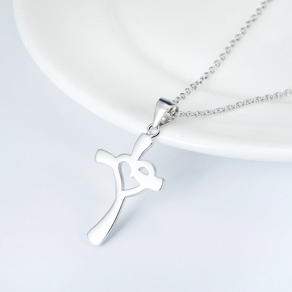 Pendant Cross-Heart 925 Silver Engraving Option