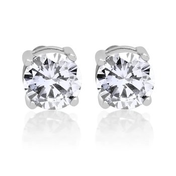 1 Pair of Ear Studs Classic Solitaire 925 silver