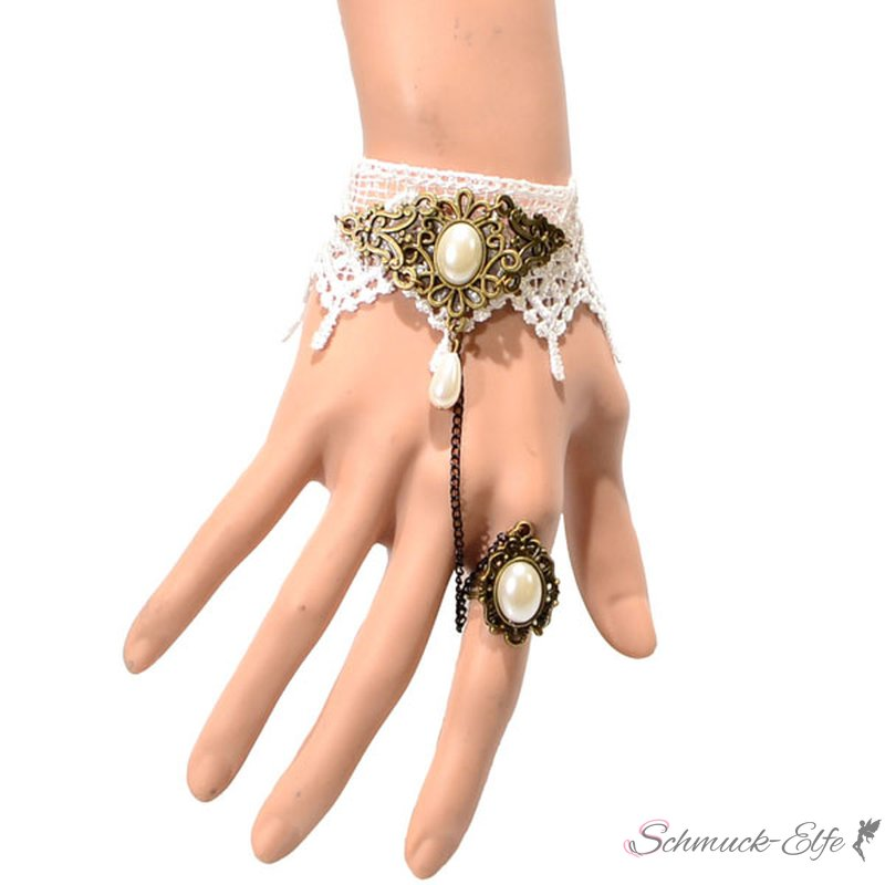 barock armband white princess aus spitze mit ring 39 99. Black Bedroom Furniture Sets. Home Design Ideas