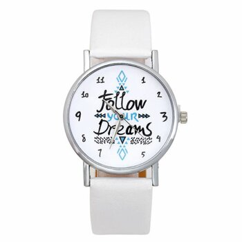 Damen Armbanduhr Follow your Dreams silber PU Leder weiß