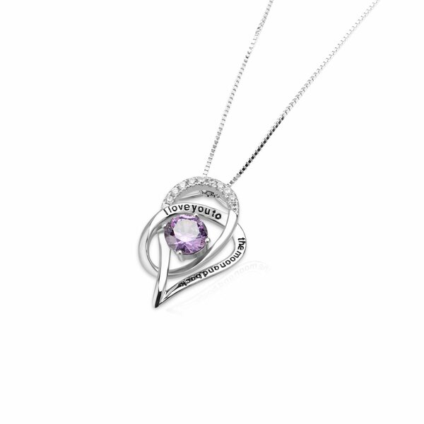 Anhänger Galaxie  i love you to the moon and back  mit Amethyst aus 925 Silber inkl.Kette im Etui