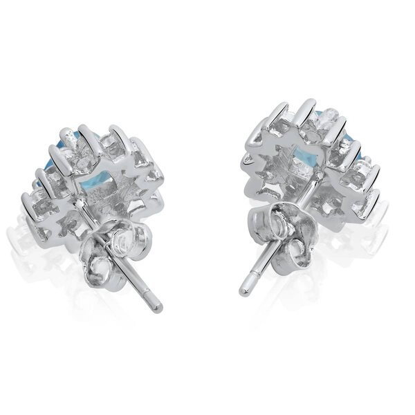 1 Pair of Ear studs Ocean Heart Aquamarine 925 Silver
