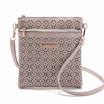 Umhänge Tasche / cross over bag mit cut outs PU Leder rosé