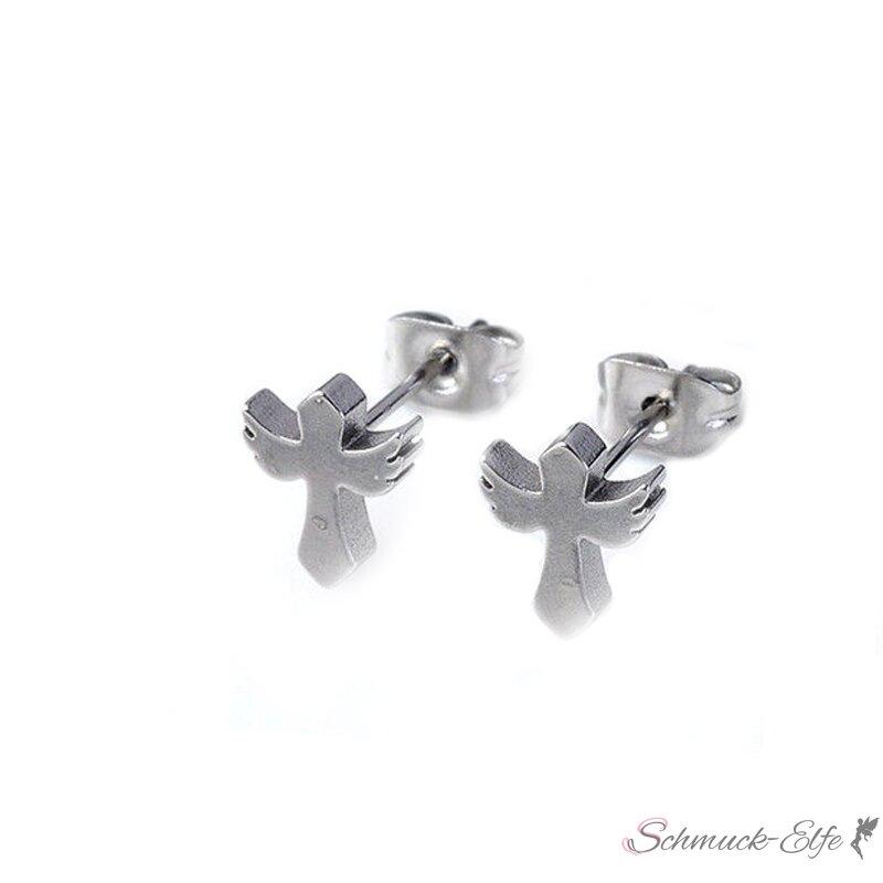 1 Paar Ohrstecker Kreuz mit Engelsflügeln aus E...