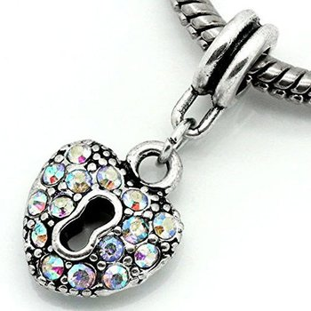 Dangle Bead Herz mit Schloss &  Strass aurora multi color
