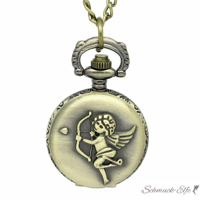 Taschenuhr / Uhrenkette Engel vintage antik gold