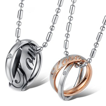Couple Pendants Rings Tricolor LOVE silver black rose gold