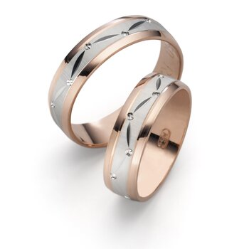 SET Eheringe / Trauringe Sequenz 6 mm 750er Rosegold/...