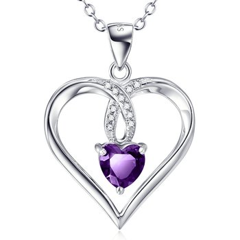 Pendant Heart Amethyst 925 silver incl. chain