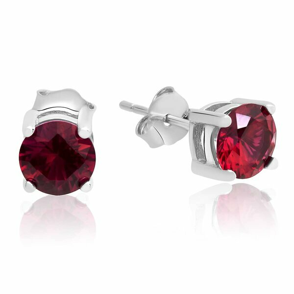 1 Pair Ear Studs red Classic Rubin 925 silver
