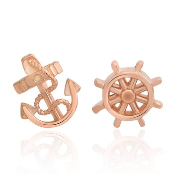 1 pair of ear studs anchor and steering wheel 925 silver...