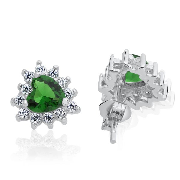 1 Pair of Ear studs Ocean Heart Emerald 925 Silver
