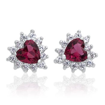 1 Pair of Ear Studs Ocean Heart Ruby 925 Silver