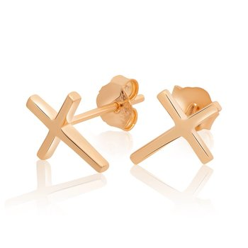 1 Pair Ear Studs Crosses 925 Silver rosegolden