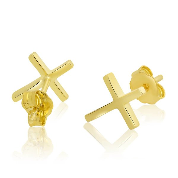 1 Pair Ear Studs Crosses 925 Silver golden