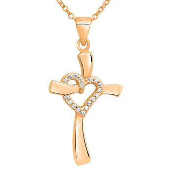 Pendant Cross-Heart rosegolden 925 Silver Engraving Option