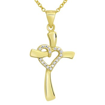 Pendant Cross-Heart golden 925 Silver Engraving Option