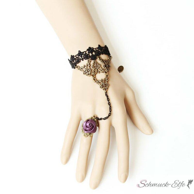 barock armband bella aus spitze mit satin rosen ring edel 39 99. Black Bedroom Furniture Sets. Home Design Ideas